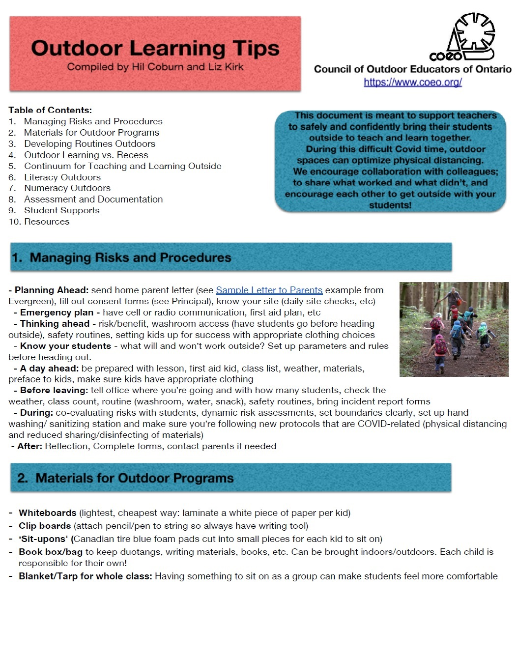 Outdoor Learning Tips - managing risks and procedures; materials for outdoor programs